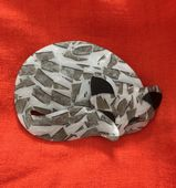 Lea Stein Gomina the Sleepy Cat Brooch  - White Feline with Grey, SIlver, Black Colours (SOLD)